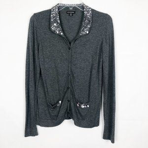 GEORGE Long Sleeve Button Down Sequin Gray Sweater